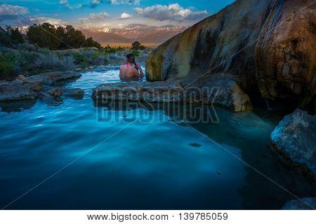 Relaxing Bath At Sunrise Travertine Hot Springs Bridgeport California