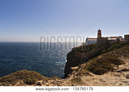 lighthouse on top of cliff at Cabo Sao Vicente Algarve region Portugal