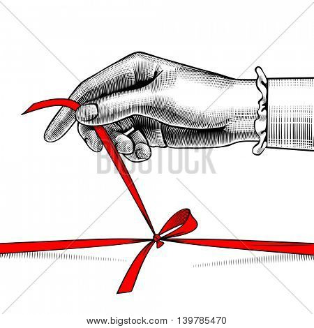 Woman's hand untying bow of red ribbon. Vintage engraving stylized drawing
