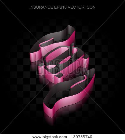 Insurance icon: Crimson 3d Car And Palm made of paper tape on black background, transparent shadow, EPS 10 vector illustration.