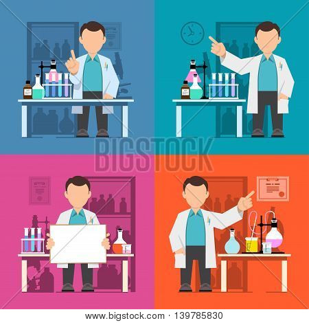 Set Character scientist teacher doctor in science research laboratory. Vector illustration of a man in a white coat. Flat style.