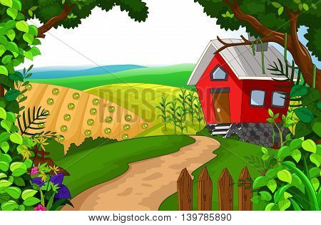 beauty red house with green grass landscape background