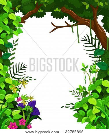 beauty green forest on white background for you design