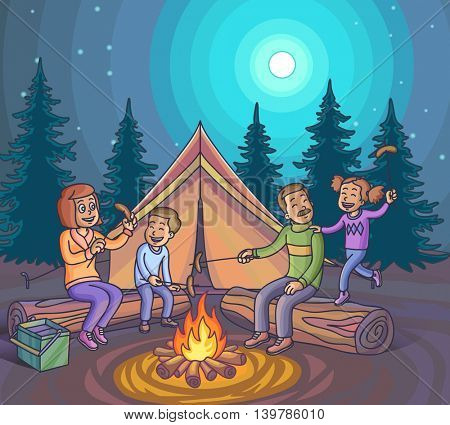 Happy family camping with campfire at night. Vector Illustration.