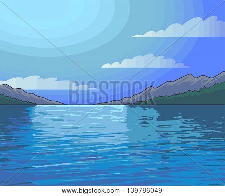 Moonlight Night landscape lake. Vector Illustration.