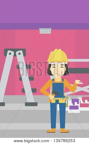An asian woman in helmet with a hummer and a nail in hands standing on the background of purple walls, paint cans and ladder vector flat design illustration. Vertical layout.