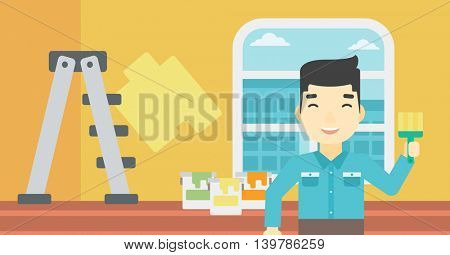 An asian painter holding a paint brush. Painter painting walls with paint brush at home. House renovation concept. Vector flat design illustration. Horizontal layout.