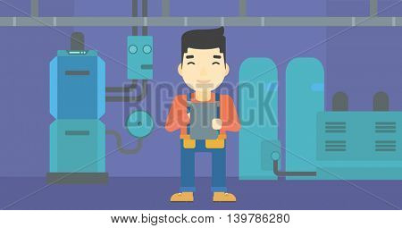An asian man making some notes in his tablet on a background of domestic household boiler room with heating system and pipes vector flat design illustration. Horizontal layout.