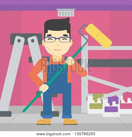 An asian painter in uniform with a paint roller in hands. Painter at work in an apartment with paint cans and ladder. Vector flat design illustration. Square layout.