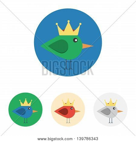 Vector set of icons with bird with crown. Icons are in modern flat style in various colors without long shadows. Icons on a circular background for various use.