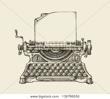 Hand-drawn vintage typewriter. Sketch publishing. Vector illustration