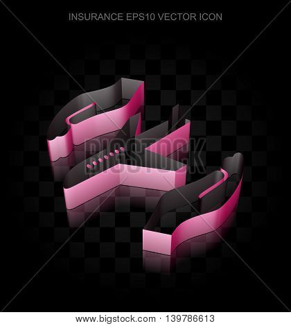 Insurance icon: Crimson 3d Airplane And Palm made of paper tape on black background, transparent shadow, EPS 10 vector illustration.