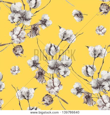 Vintage vector bouquet of twigs and cotton flowers. Botanical illustrations. Seamless pattern on yellow background.