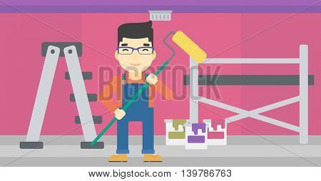 An asian painter in uniform with a paint roller in hands. Painter at work in an apartment with paint cans and ladder. Vector flat design illustration. Horizontal layout.