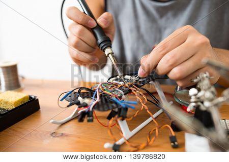 Process of welding drone