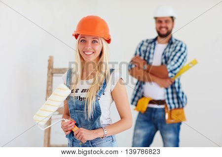 portrait of young repair team at work