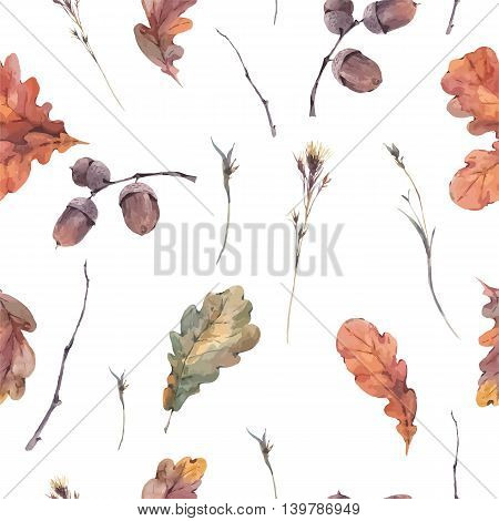 Autumn vintage bouquet of twigs, yellow oak leaves and acorns. Botanical watercolor seamless pattern