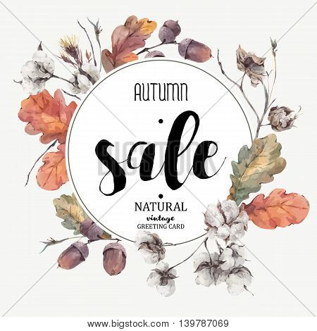 Autumn vector vintage bouquet of twigs, cotton flower, yellow oak leaves and acorns. Botanical illustrations. Sale card. Isolated on white background