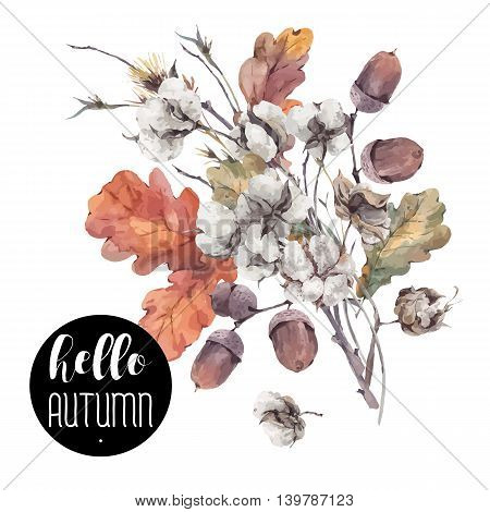 Autumn vector vintage bouquet of twigs, cotton flower, yellow oak leaves and acorns. Botanical illustrations. Greeting card. Isolated on white background