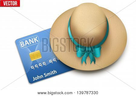 Summer vacation with a credit card closed cap. Background of Tourism, travel and financial freedom.