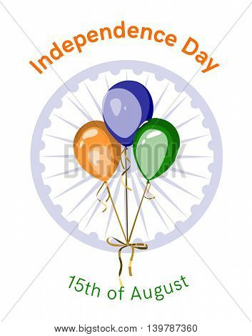 Independence day of India. Vector bunch of balloons with indian flag symbol and colors. Indian national holiday festive poster, banner or greeting card design.