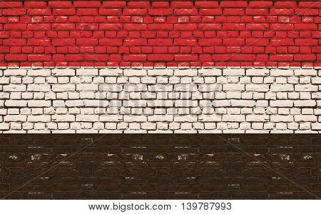 Flag of Yemen painted on wooden frame