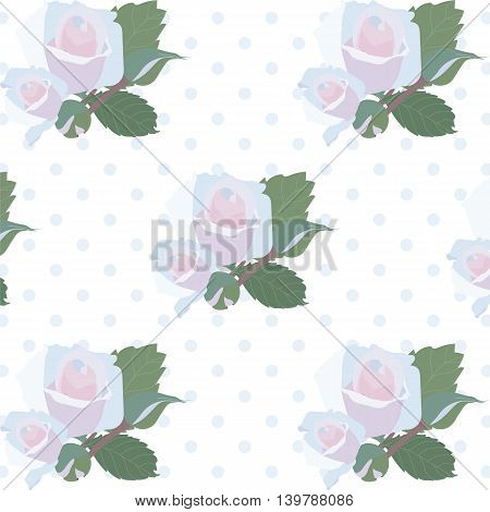 Watercolor Delicate Roses pattern. Vector rose flower on retro dotted background