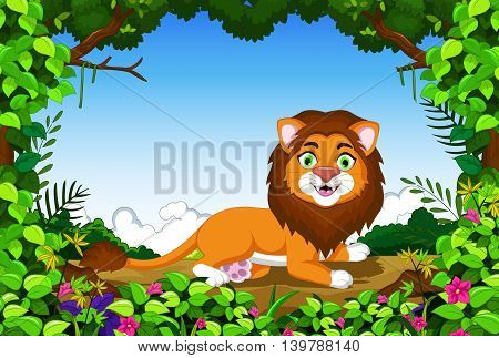 cute lion cartoon sitting with landscape background
