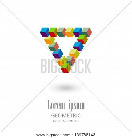 Triangle consisting of cubes.Geometric design.Logo for your company