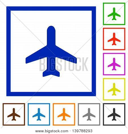 Set of color square framed airplane flat icons