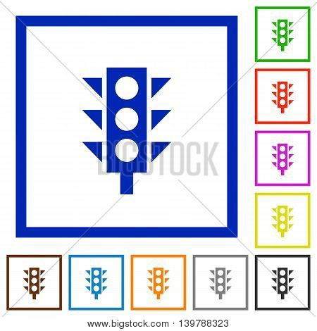 Set of color square framed Traffic light flat icons