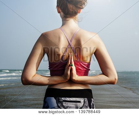 Yoga Beach Summer Mental Fitness Peace Pose Concept