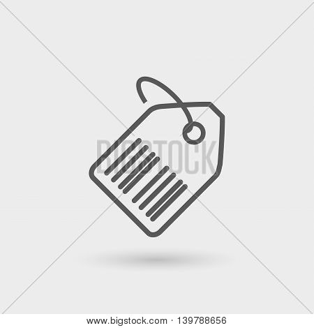 code tag thin line icon isolated with shadow