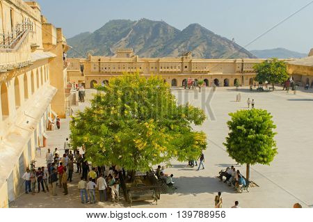Jaipur, India, november 10, 2011: View to castle Amer Fort Rajasthan India