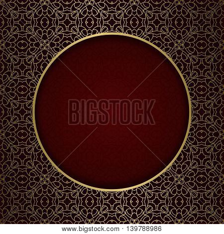 Traditional ornamental background with golden patterned round frame