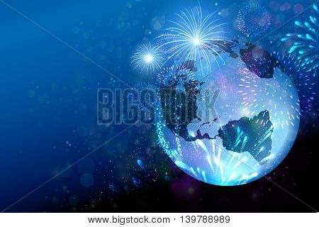 Travel The World, Festival, Fireworks new year on the earth globe concept