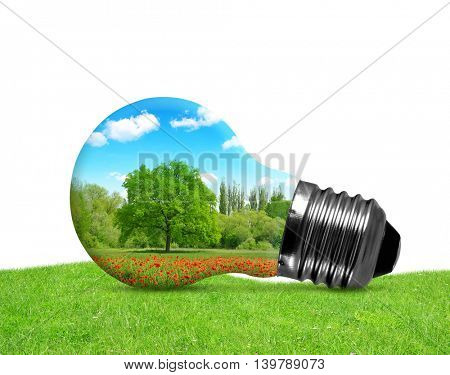 Eco bulb in grass on white background. Environment or energy concept.