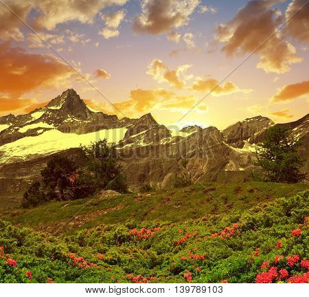 Beautiful mountain landscape at sunset. Zinalrothorn in Pennine alps, Switzerland.