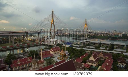 aerial view of bhumibol 1bridge important landmark of bangkok thailand
