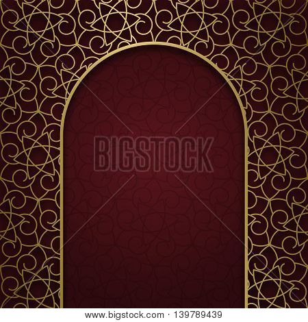 Traditional ornamental background with golden patterned arched frame