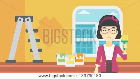 An asian female painter holding a paint brush. Painter painting walls with paint brush at home. House renovation concept. Vector flat design illustration. Horizontal layout.
