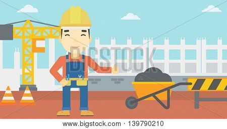 An asian builder in helmet giving thumb up. A builder with thumb up on a construction site. A man giving thumb up on a background of road works. Vector flat design illustration. Horizontal layout.