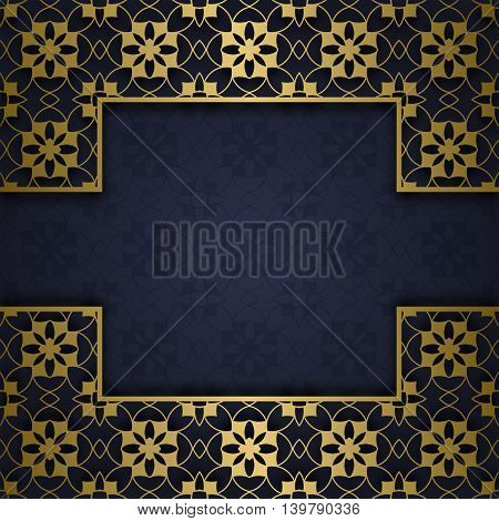 Traditional ornamental background with golden patterned square frame
