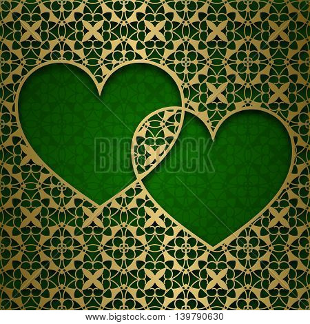 Traditional ornamental background with frame of two hearts