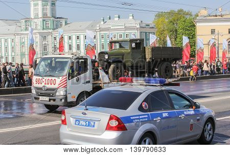 St. Petersburg, Russia - 9 May, Transportation of old truck, 9 May, 2016. Celebration day of victory in the center of St. Petersburg.
