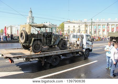 St. Petersburg, Russia - 9 May, Transportation of old military jeep, 9 May, 2016. Celebration day of victory in the center of St. Petersburg.