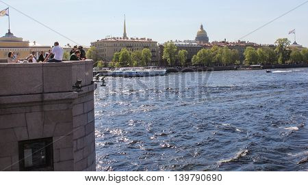 St. Petersburg, Russia - 9 May, View of the Admiralty Embankment, 9 May, 2016. Travel types of summer Saint-Petersburg along the Neva River.