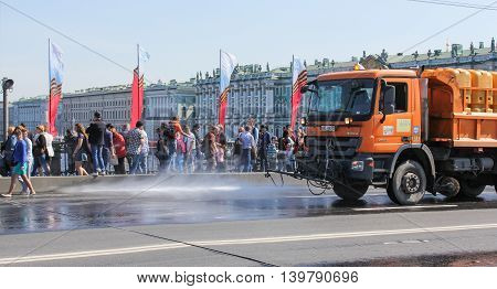 St. Petersburg, Russia - 9 May, Cleaning city roads, 9 May, 2016. Celebration day of victory in the center of St. Petersburg.