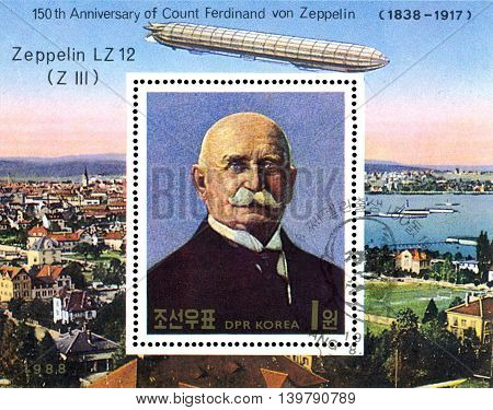 STAVROPOL RUSSIA - JULY 19 2016: a stamp printed in DPR Korea shows Airship LZ-12 (Z III) portrait Ferdinand Von Zeppelin series cirka 1988