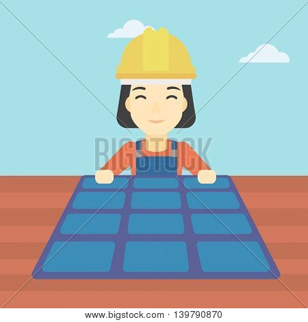 An asian woman installing solar panels on roof. Technician in inuform and hard hat checking solar panels on roof. Vector flat design illustration. Square layout.